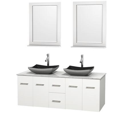 Wcvw00960dwhcmgs1m24 60 In. Double Bathroom Vanity In White  White Carrera Marble Countertop  Altair Black Granite Sinks  And 24 In.