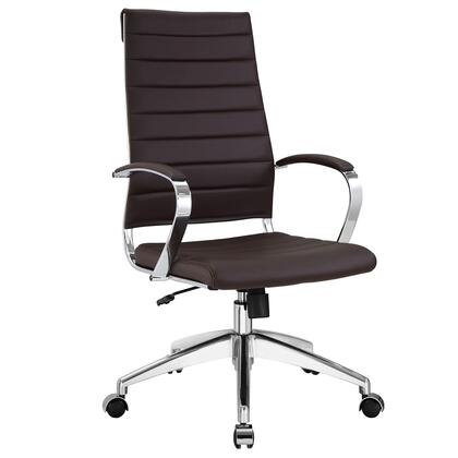 Jive Collection EEI-272-BRN Office Chair with 5-Caster Dual Wheel Base  Padded Arms  Chrome-Plated Aluminum Frame  Tilt Lock Tension Control  Adjustable Height