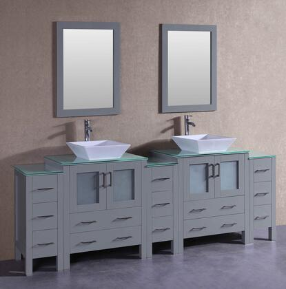 AGR230SQCWG3S 96 inch  Double Vanity with Clear Tempered Glass Top  Flared Square White Ceramic Vessel Sink  F-S02 Faucet  Mirror  4 Doors and 13 Drawers in