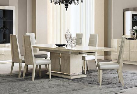 Chiara Collection 18754-DT6C 7-Piece Dining Room Set with Dining Table and 6 Chairs in Light