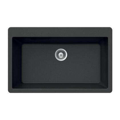 V-100 MIDNITE Quartztone Series Granite Topmount Large Single Bowl Kitchen Sink