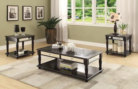 Caree Collection 81505 3 PC Living Room Table Set with Faux Drawers Mirror Inlays  Crocodile PU Top  Wooden Turned Legs  Marble Paper Veneer and Poplar Wood