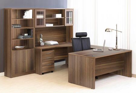 1C100010RWL Walnut Executive U Shaped Desk with Hutch and