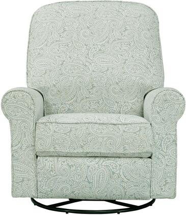 Ashewick DS-911-006-533 Swivel Glider Recliner with Padded Back and Arms  Sinuous Spring Suspension and Paisley Patterned in Spearmint