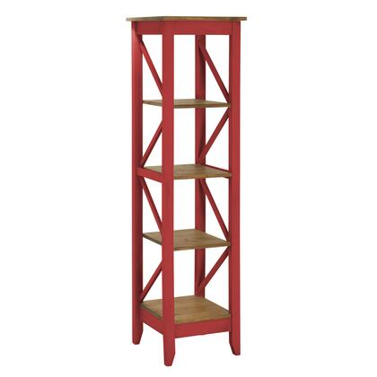 """Jay 2.0 Collection CS34003 19"""" Solid Wood Bookcase with 4 Open Shelves and Lifted Base in Red"""