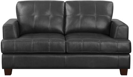Samuel Collection 501689 66 inch  Loveseat with Cappuccino Tapered Legs  Sinuous Spring Base and Padded Breathable Leatherette and Bonded Leather Upholstery in