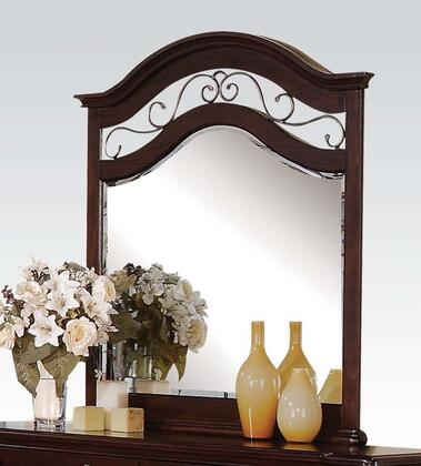 Cleveland Collection 21554 41' x 46 inch  Mirror with Beveled Edges  Antique Copper Metal Scrolled Decor and Solid Pine Wood Construction in Dark Cherry