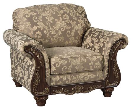 Irwindale Collection 8840420 48 Chair With Fabric Upholstery  Carved Detailing  Rolled Arms And Traditional Style In