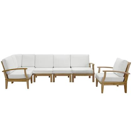 Marina Collection EEI-1816-NAT-WHI-SET 6-Piece Outdoor Patio Teak Sofa Set with Armchair  Corner Sofa  Left-Arm Sofa  Right-Arm Sofa and 2 Middle Sofas in