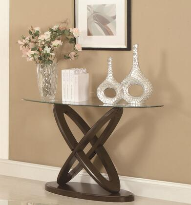 702789 Occasional Group Oval Sofa Table with Tempered Glass Top and Intersecting Rings Legs in Espresso