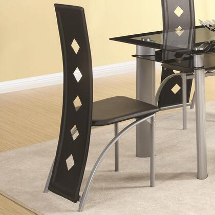 121052 Fontana Vinyl Side Chair with Black Vinyl Upholstery  Curved Back Legs and Diamond Pattern Chair Back in Silver