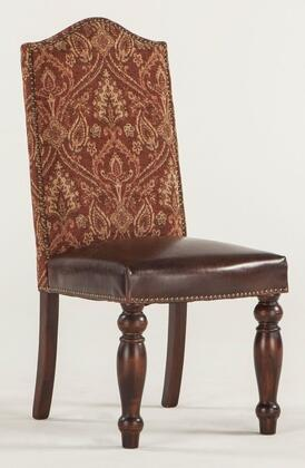 Emilia ZWEI63CC 20 inch  Dining Chair with Nail Head Trim  Brown Leather Seat Upholstery and Fabric Upholstered Back in Crimson Cross