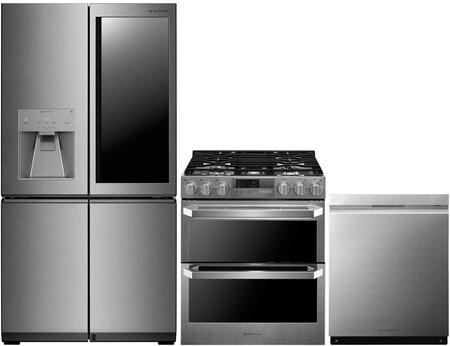4-Piece Stainless Steel Kitchen Package with LUPXS3186N 36 inch  French 4 Door Refrigerator  LUTD4919SN 30 inch  Slide-In Dual Fuel Range and LUDP8997SN 24 inch  Fully