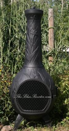 ALCH046CHGKNG Gas Powered Orchid Chiminea Outdoor Fireplace With Cast Iron Bottom Grate  Carry Handles For Easy Arrangement  Hinged Mouth Safety Screen  Spark