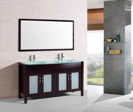 9132 Double Bathroom Sink Espresso Vanity Cabinet Tempered Glass Countertop With Mirror &