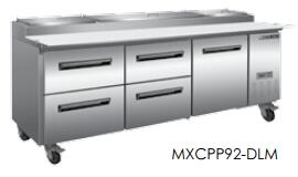 MXCPP92-DML  Undercounter Refrigerator and Pizza Preparation WorkTop with 32 cu. ft. Capacity  4 Casters  Self Contained  Automatic Defrost  Forced Air
