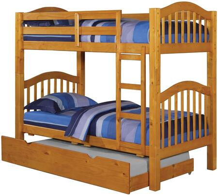 Heartland Collection 02359TRN Twin Over Twin Bunk Bed with Trundle  Right Facing Front Ladder  Easy Access Guard Rail  Slat System Included and Wood Veneer