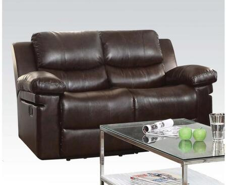 Xenos Collection 52143 62 inch  Reclining Loveseat with Pillow Top Arms  Wood and Metal Frame  Tight Cushions and Leather-Aire Upholstery in Dark Brown