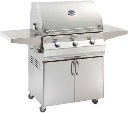 A660S5EAN61 Aurora 63 inch  Cart with 30 inch  Natural Gas Grill  E-Burners  Side Shelves  Analog Thermometer  and Up to 75000 BTUs Heat Output  in Stainless