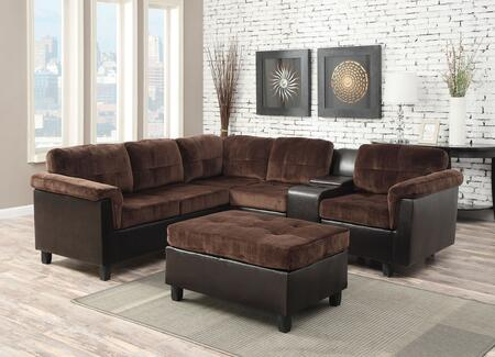 Cleavon 51665 Reversible Sectional with Sofa  Wedge  Armless Chair  Console  Chair and Espresso PU Leather Upholstery in Chocolate