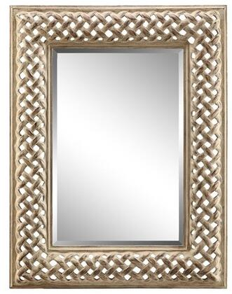 Amelia Villa Collection 13434 52 inch  x 39 inch  Wall Mirror with Open Braid Design  Metal Frame and Powder Glaze in