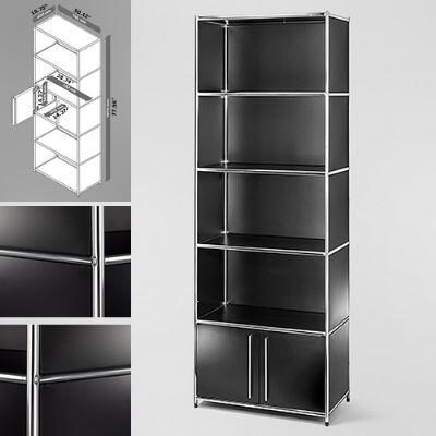 814495012352 30 inch  Wide System4-SIMPLI Modular Bookcase with 5 Shelves and One Double Door  Steel Construction in Black and Chrome