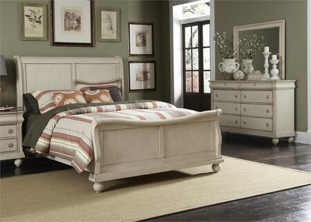 Rustic Traditions II Collection 689-BR-KSLDM 3-Piece Bedroom Set with King Sleigh Bed  Dresser and Mirror in Rustic White