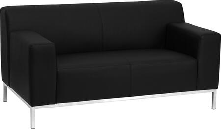 ZB-DEFINITY-8009-LS-BK-GG HERCULES Definity Series Contemporary Black Leather Love Seat with Stainless Steel