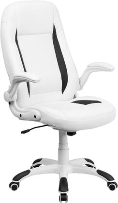 CH-CX0176H06-WH-GG High Back White Leather Executive Office Chair with Flip-Up