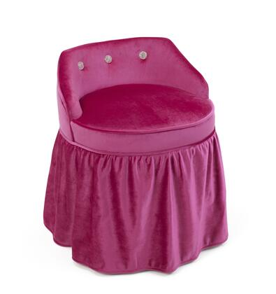 Zooey Collection 12467 24 inch  Girl's Vanity Stool with Decorative Skirted Bottom and Durable Fabric in