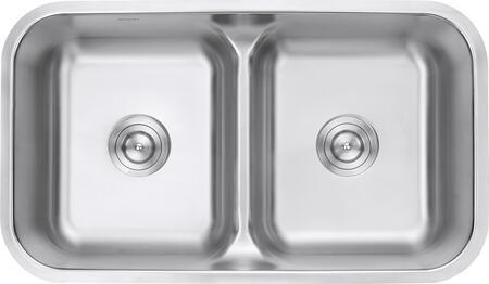 RVM4350 Undermount 18 Gauge 32 inch  Low Divide Kitchen Sink Double