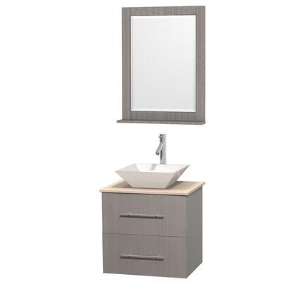 Wcvw00924sgoivd2wm24 24 In. Single Bathroom Vanity In Gray Oak  Ivory Marble Countertop  Pyra White Porcelain Sink  And 24 In.