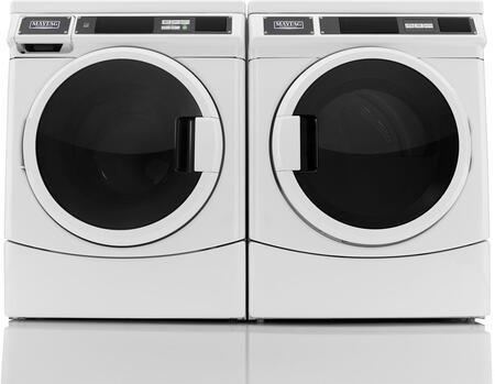 "White Front Load Laundry Pair with MHN33PDCWW 27"" Washer and MDE28PDCYW 27"""