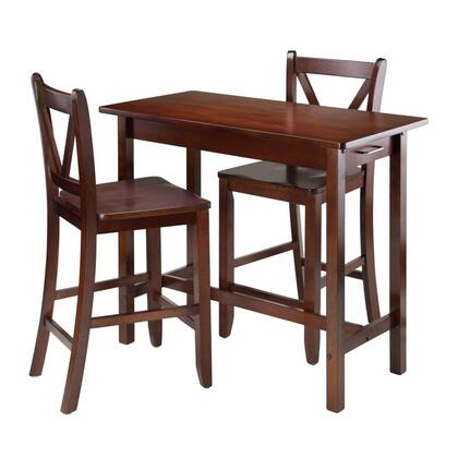 94364 3-pc Kitchen Island Table With 2 V-back