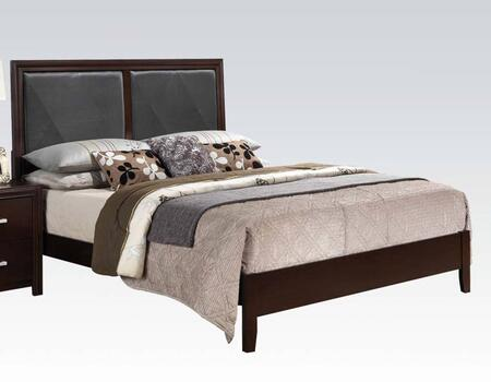 Ajay Collection 21414CK California King Size Bed with Black Faux Leather Insert  Low Profile Footboard  Solid Wood Slats  Rubberwood and Chipboard Materials in