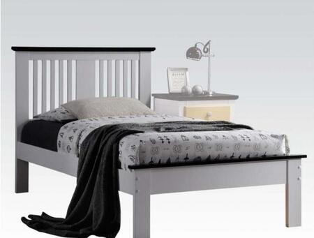 Brooklet Collection 25450Q Queen Size Bed with Slatted Panel Headboard  Low Profile Footboard  Contrast Top Trim and Poplar Wood Construction in Black and