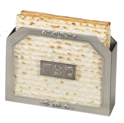 MT-601 Standing Passover Matzah Holder with Glass Center  Inscriptions and Handmade in Pewter