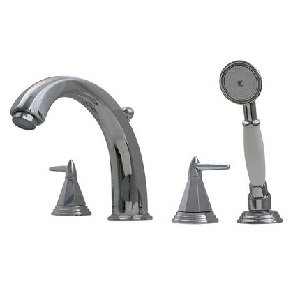 514453TFC Blairhaus Monroe deck mount tub filler set with smooth lined arcing spout  octagon-shaped lever handles  beveled escutcheons  hand held shower with