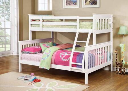 Chapman Collection 460260 Twin over Full Size Bunk Bed with Separable Beds  Clean Line Design  Slatted Headboards and Footboards  Built-In Ladder  Pine and