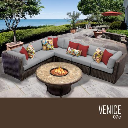 Outdoor TK Classics Venice Wicker 7 Piece Patio Conversation Set with 2 Sets of Cushion Covers Gray / Wheat