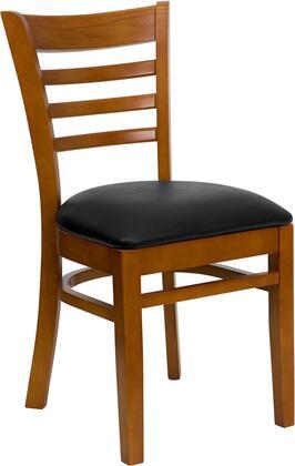 XU-DGW0005LAD-CHY-BLKV-GG HERCULES Series Cherry Finished Ladder Back Wooden Restaurant Chair - Black Vinyl