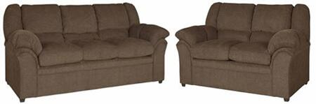 Big Ben U2061-SL 2-Piece Living Room Set with Stationary Sofa and Loveseat in Chocolate