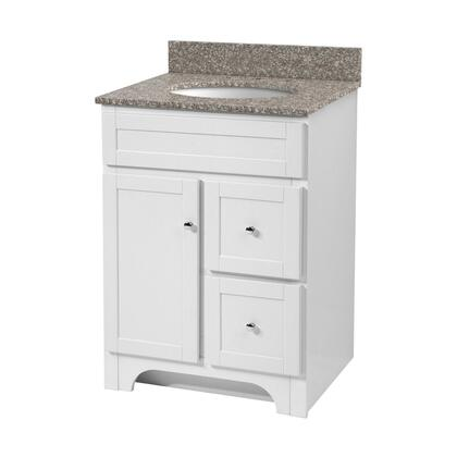 Worthington WRWA3021D 30 inch  Vanity with Brushed Nickel Hardware  1 Door and 2 Drawers in White