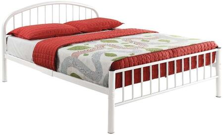 Cailyn Collection 30460TWH Twin Size Bunk Bed with Slat System Included  Curved Headboard  Low Profile Rectangular Footboard and Metal Tube Material in White
