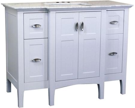 7614-WH-WH 45 inch  Single Sink Vanity in White with Marble Top in
