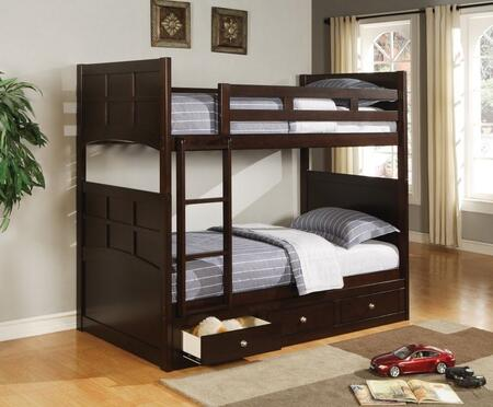 Jasper Collection 4601367 Twin Over Twin Size Bunk Bed with Underbed Storage Drawers  Ladder Included and Transitional Style in Cappuccino