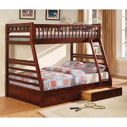 California II Collection CM-BK601CH-1and2 Twin Over Full Size Bunk Bed with 2 Drawers Included  10 PC Slats Top and Bottom  Solid Wood and Wood Veneers
