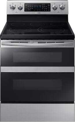 "NE59M6850SS 30"" Freestanding Electric Range with 5.9 cu. ft. Total Capacity  FlexDuo  Dual Oven Doors  5 Elements  and Storage Drawer  in Stainless"