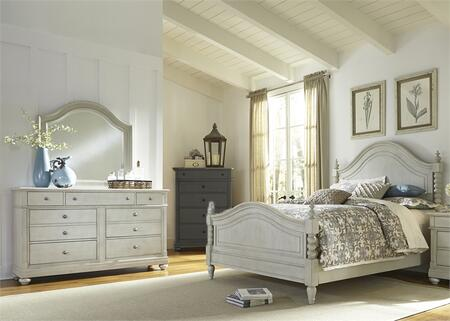 Harbor View III Collection 731-BR-QPSDM 3-Piece Bedroom Set with Queen Poster Bed  Dresser and Mirror in Dove Gray