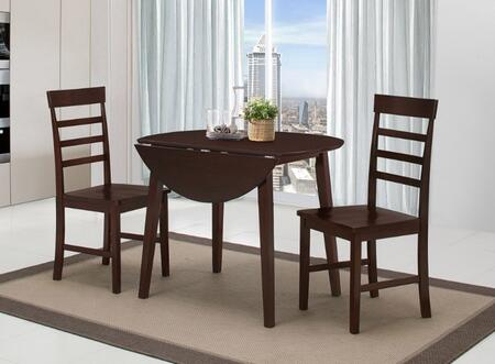 530990 Harrison Three Piece Dining Table Set with Drop-leaf Sides in Oak